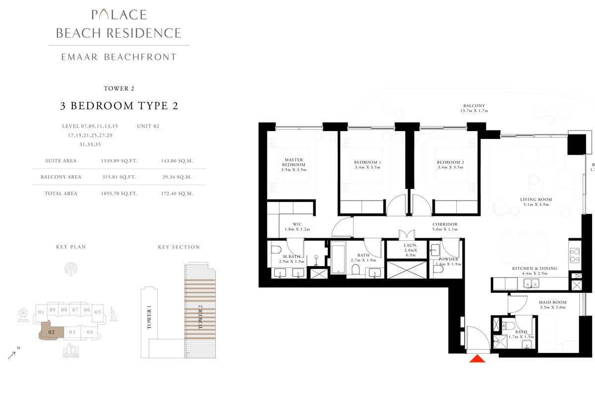 3 Bedroom, Type 02, Level 07,09,11,13,15,17,19,21,25,27,29,31,33,35, Unit 02