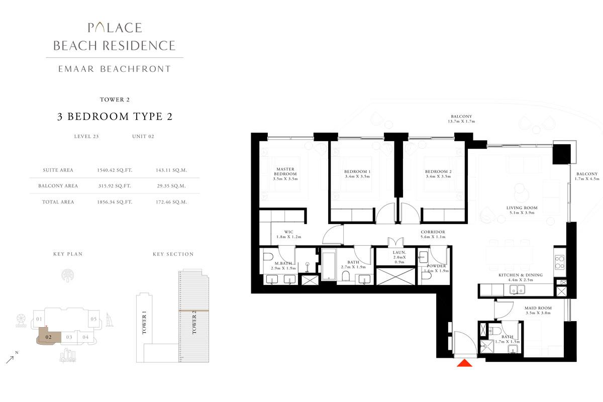 3 Bedroom, Type 02, Level 23, Unit 02