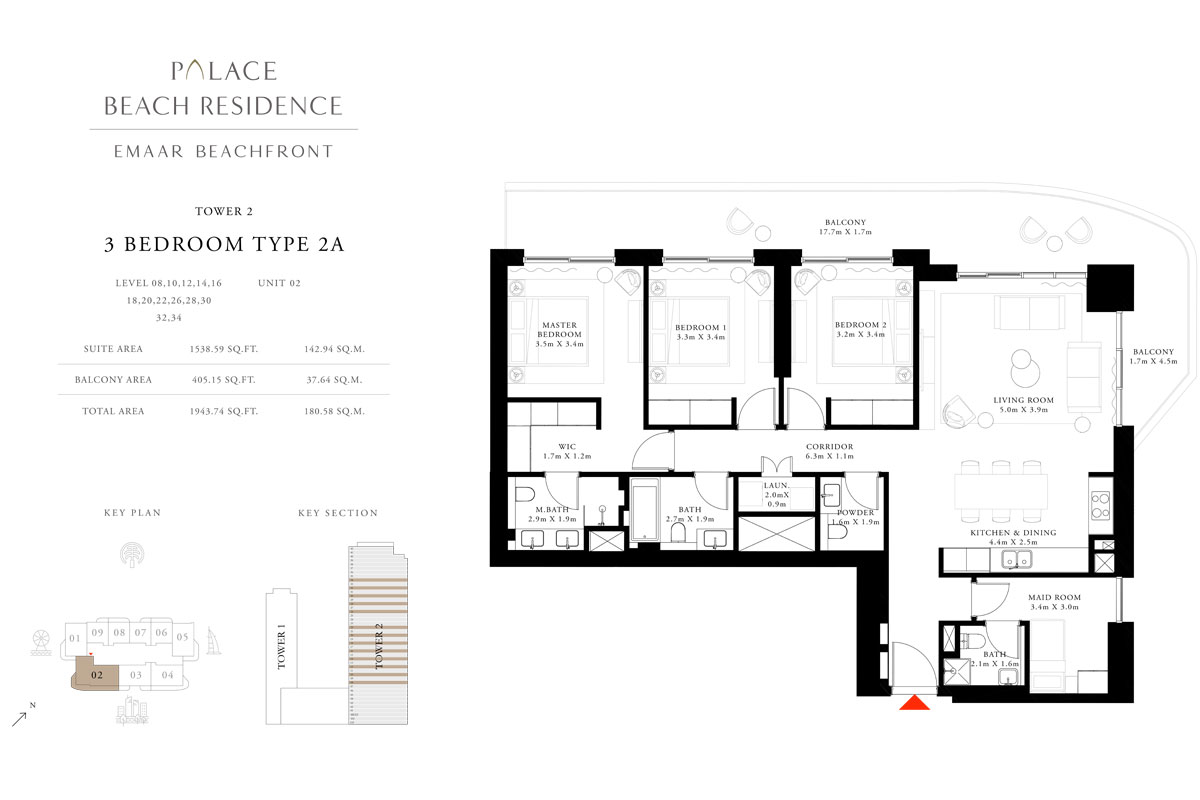 3 Bedroom, Type 2A, Level 08,10,12,14,16,18,20,22,26,28,30,32,34, Unit 02