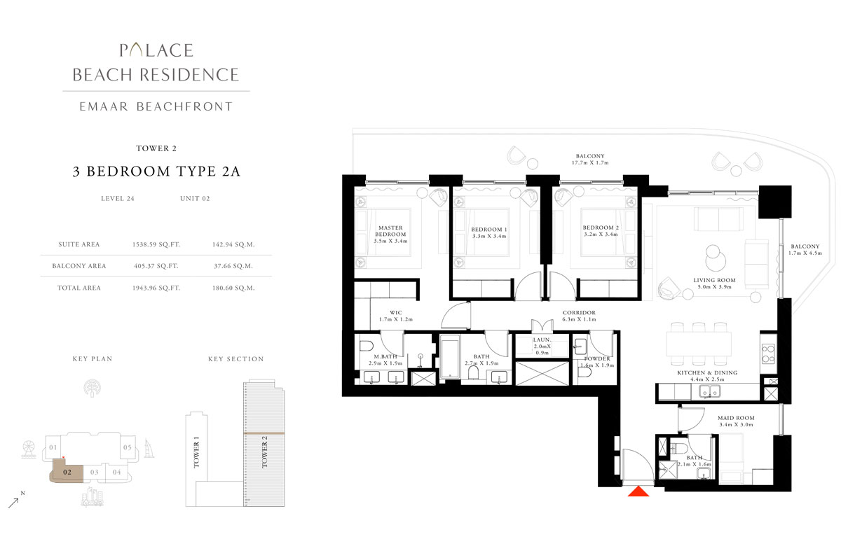 3 Bedroom, Type 2A, Level 24, Unit 02