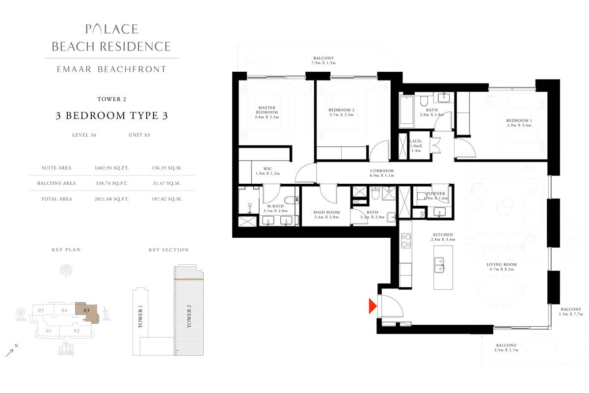 3 Bedroom, Type 03, Level 36, Unit 03