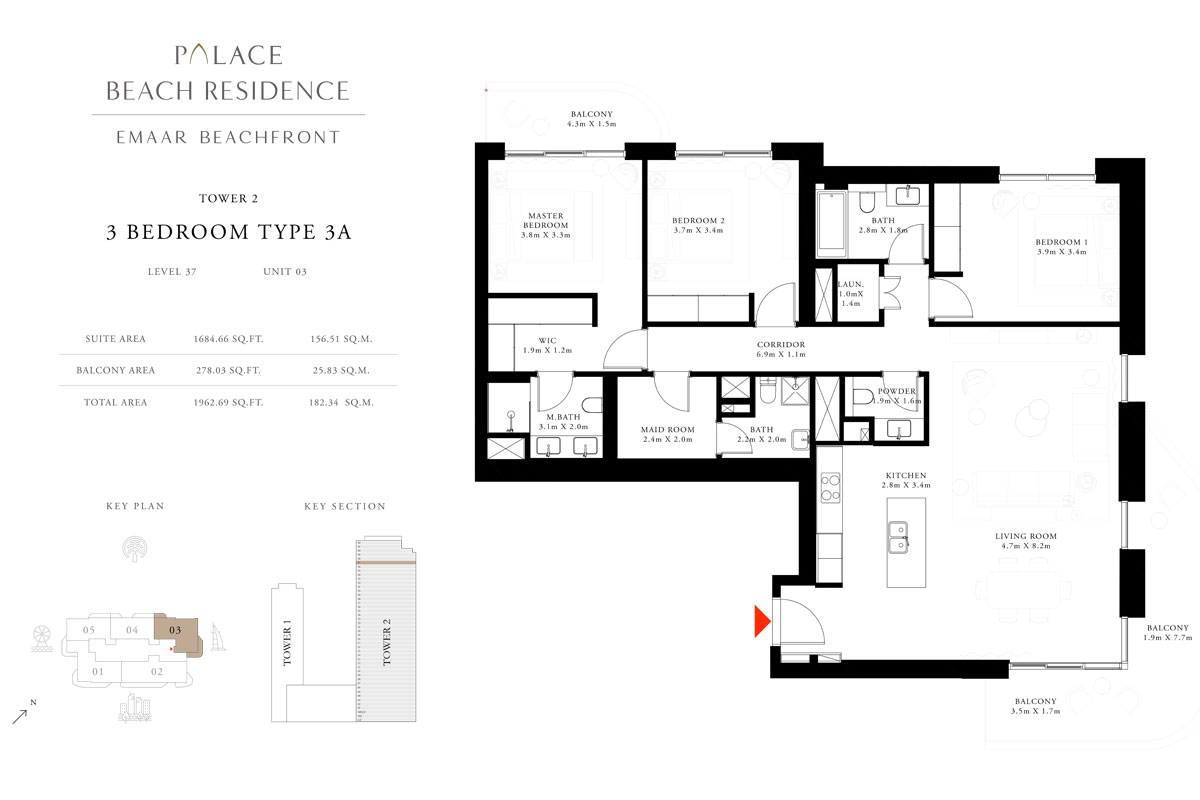 3 Bedroom, Type 3A, Level 37, Unit 03