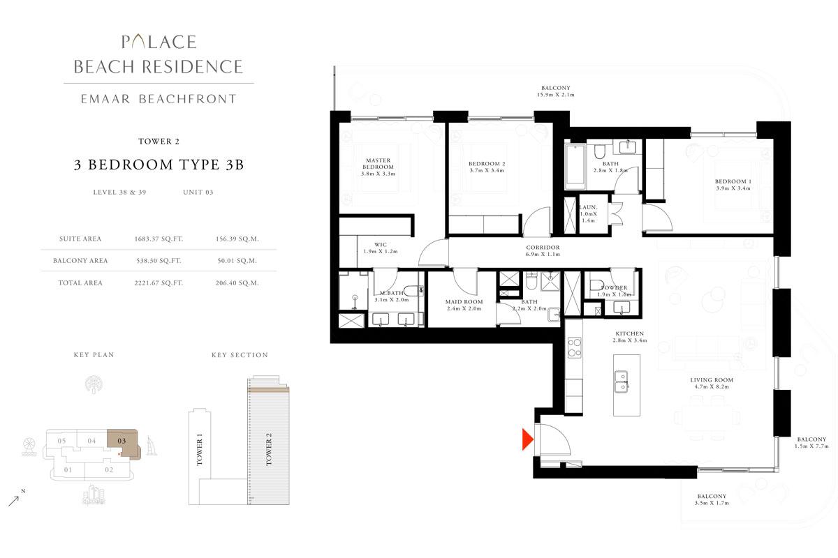 3 Bedroom, Type 3B, Level 38 & 39, Unit 03