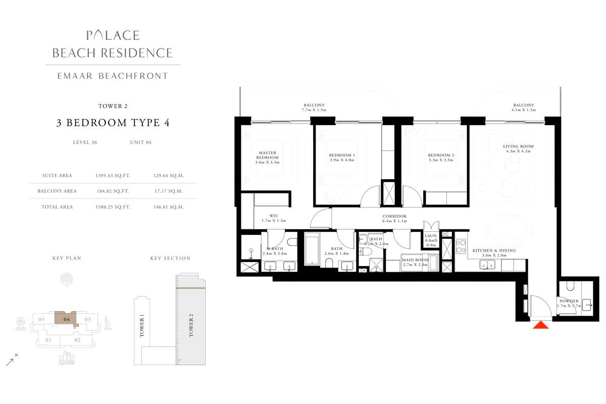 3 Bedroom, Type 04, Level 36, Unit 04