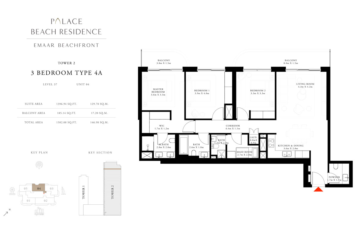 3 Bedroom, Type 4A, Level 37, Unit 04