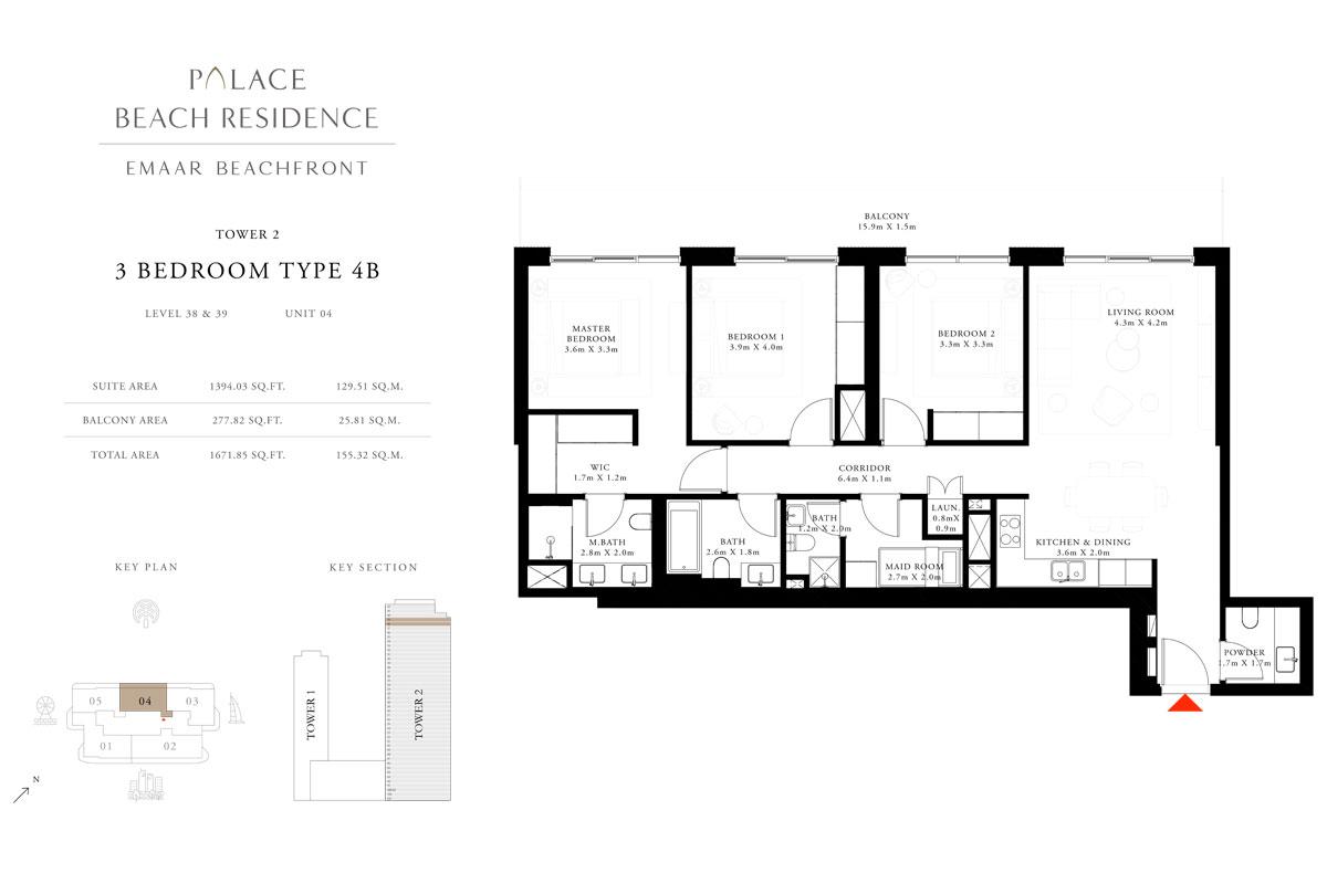3 Bedroom, Type 4B, Level 38 & 39, Unit 04