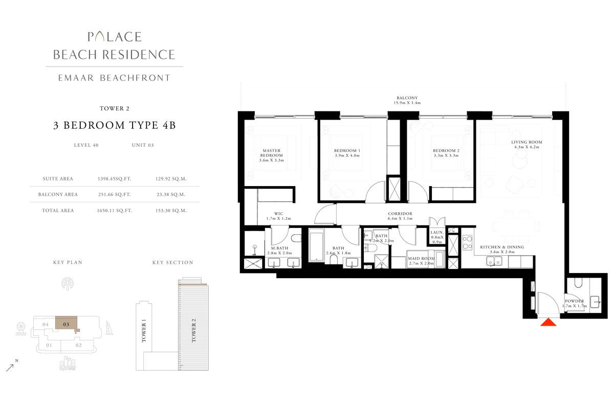 3 Bedroom, Type 4B, Level 40, Unit 03