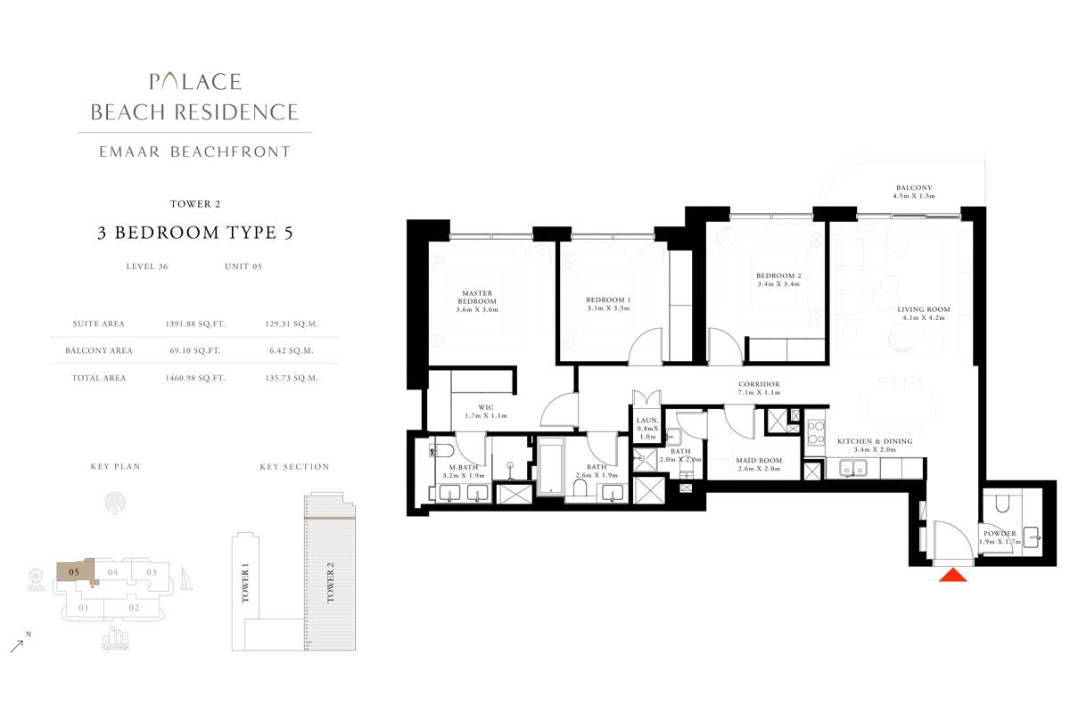 3 Bedroom, Type 05, Level 36, Unit 05