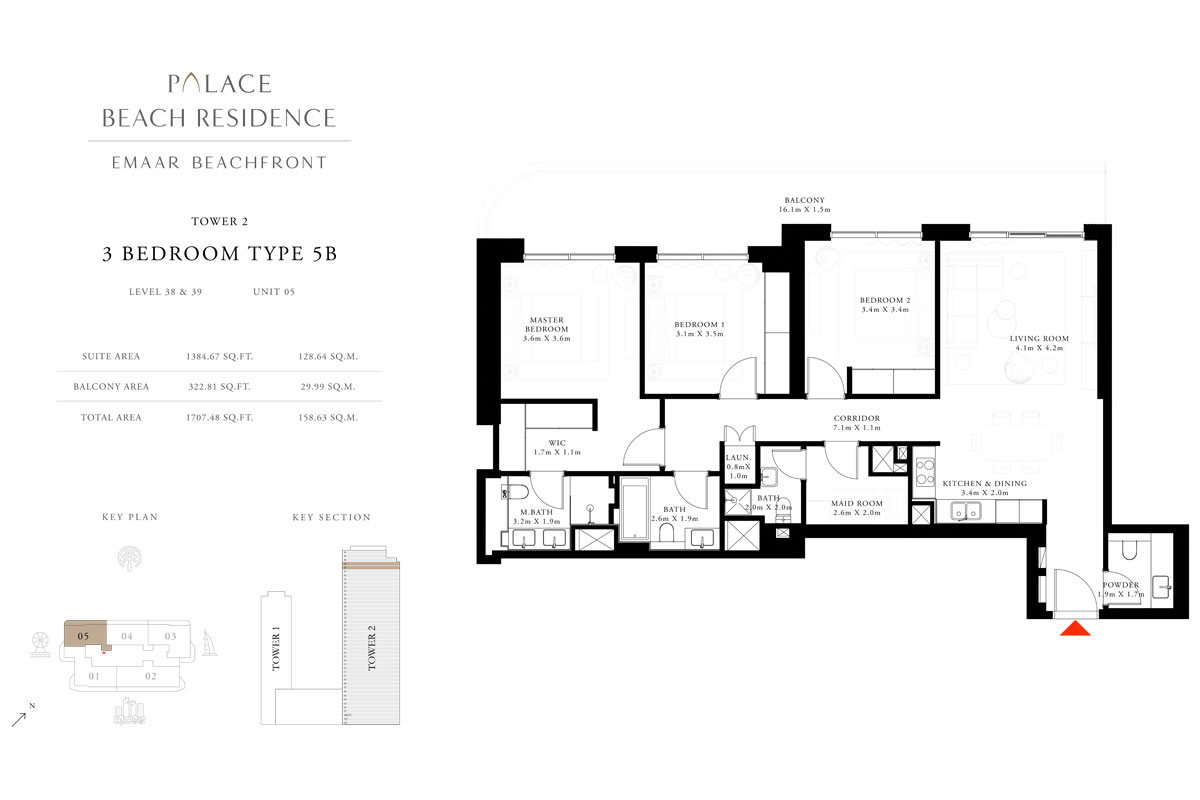 3 Bedroom, Type 5B, Level 38 & 39, Unit 05