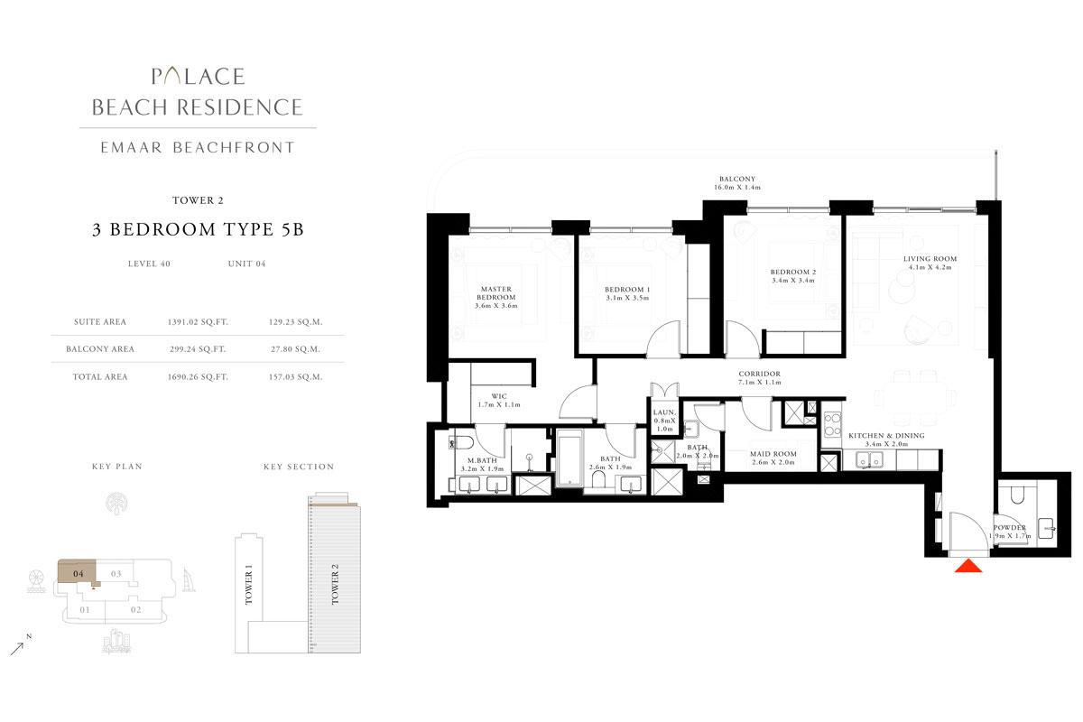 3 Bedroom, Type 5B, Level 40, Unit 04