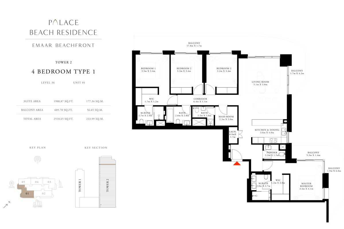 4 Bedroom, Type 01, Level 36, Unit 01