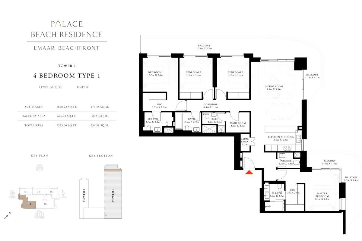 4 Bedroom, Type 01, Level 38 & 39, Unit 01