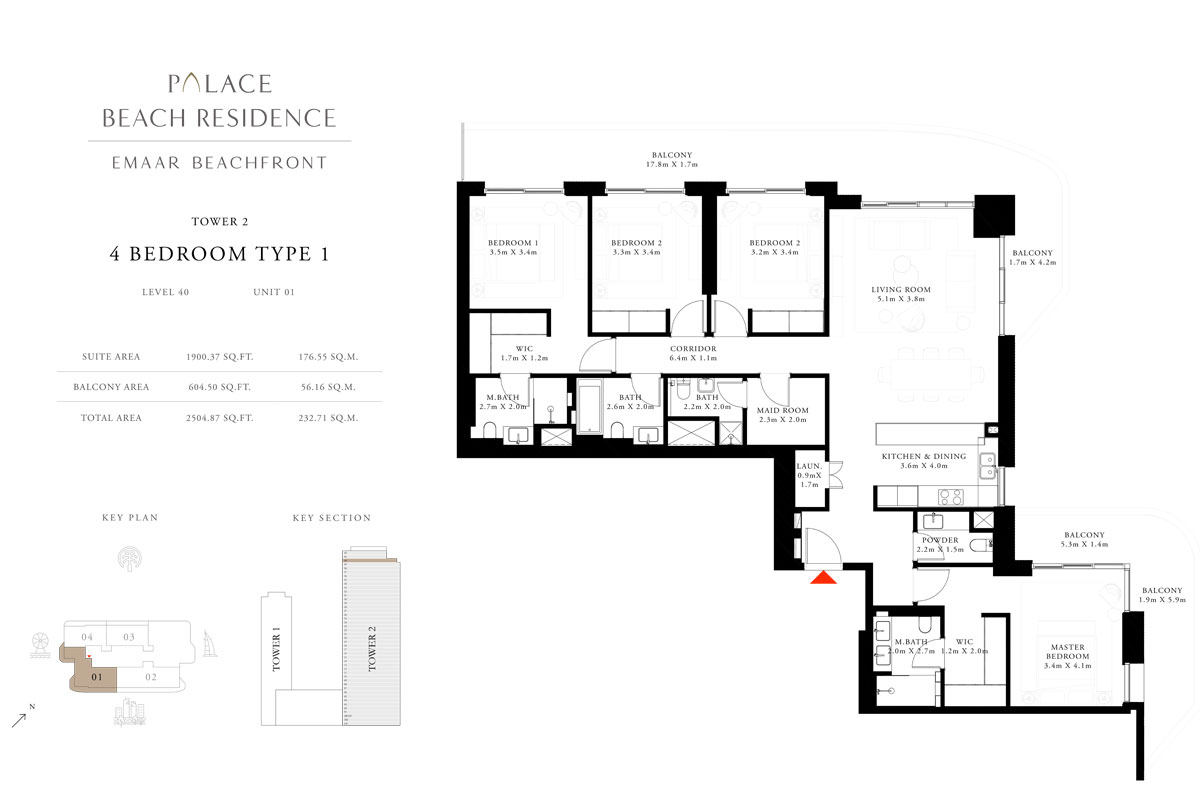 4 Bedroom, Type 01, Level 40, Unit 01