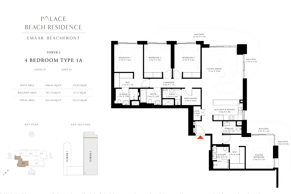 4 Bedroom, Type 1A, Level 37, Unit 01