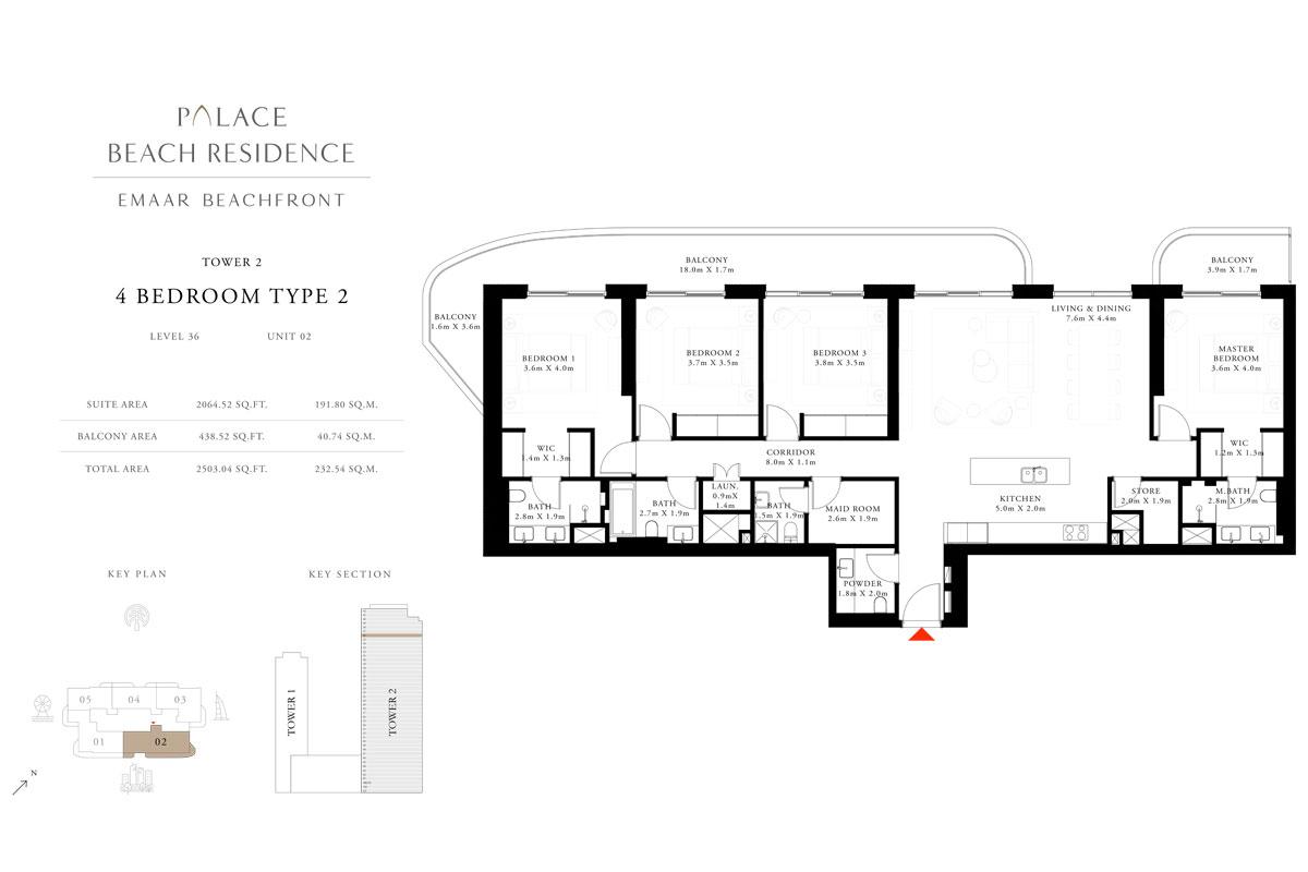 4 Bedroom, Type 02, Level 36, Unit 02
