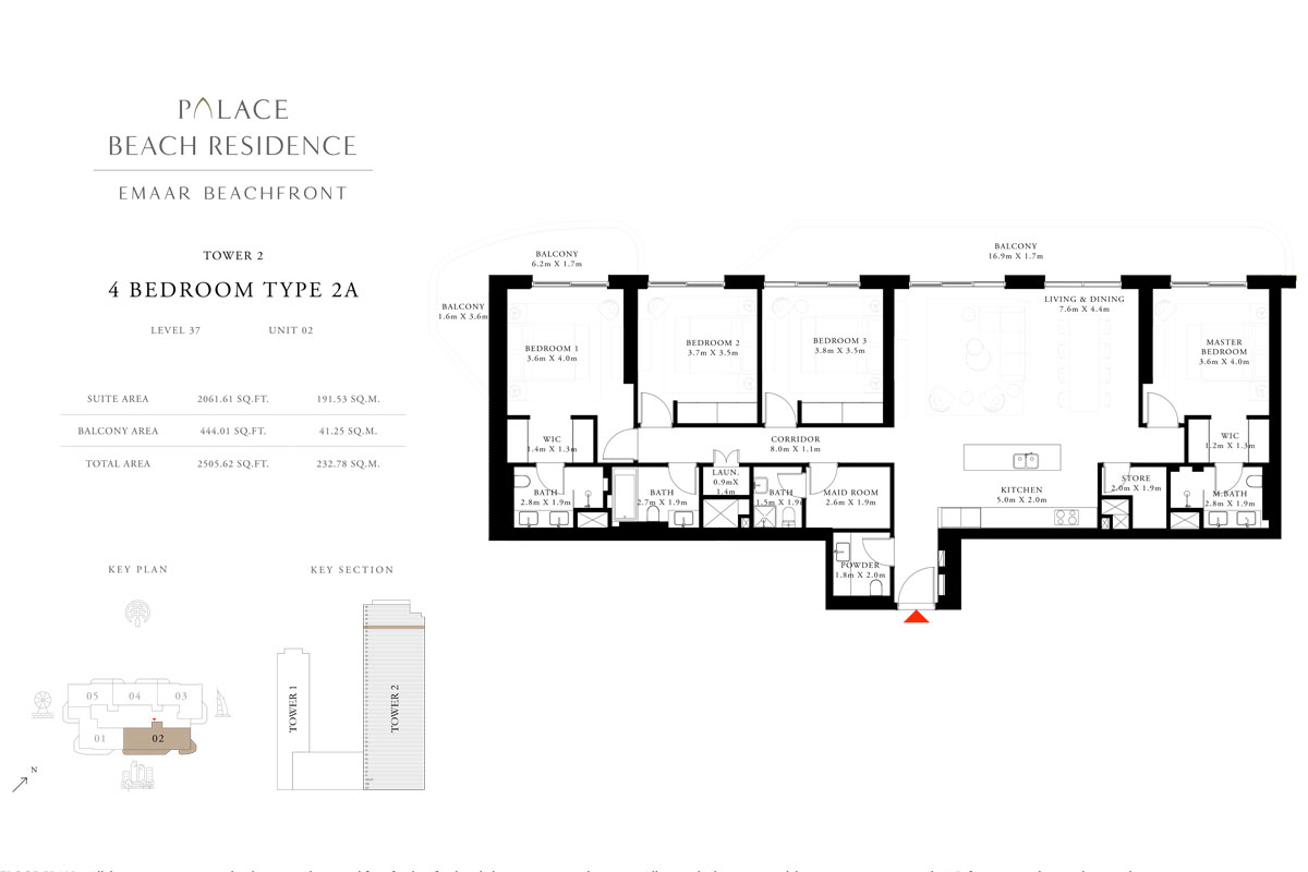 4 Bedroom, Type 2A, Level 37, Unit 02