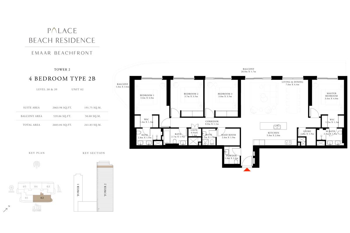 4 Bedroom, Type 2B, Level 38 & 39, Unit 02