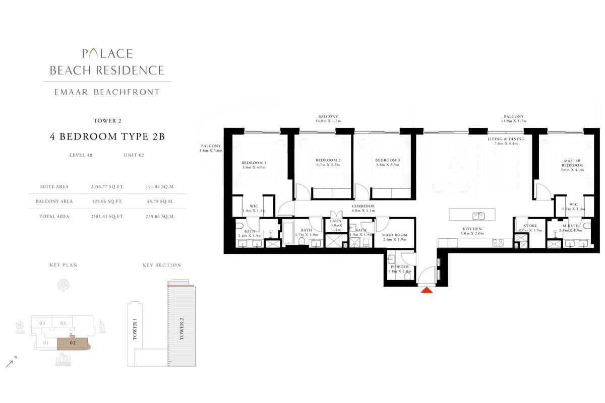 4 Bedroom, Type 2B, Level 40, Unit 02