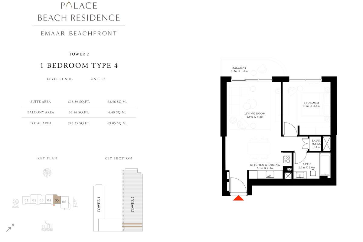 1 Bedroom, Type 04, Level 01 & 03, Unit 05
