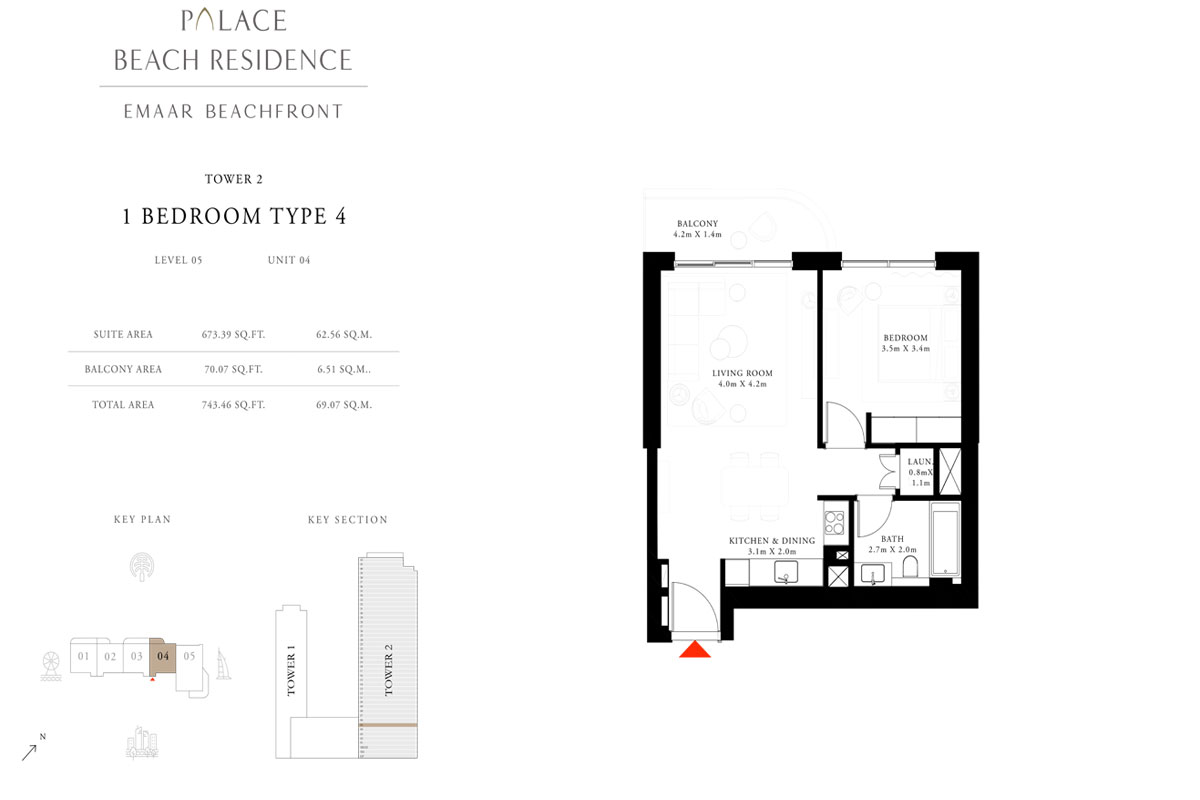 1 Bedroom, Type 04, Level 05, Unit 04