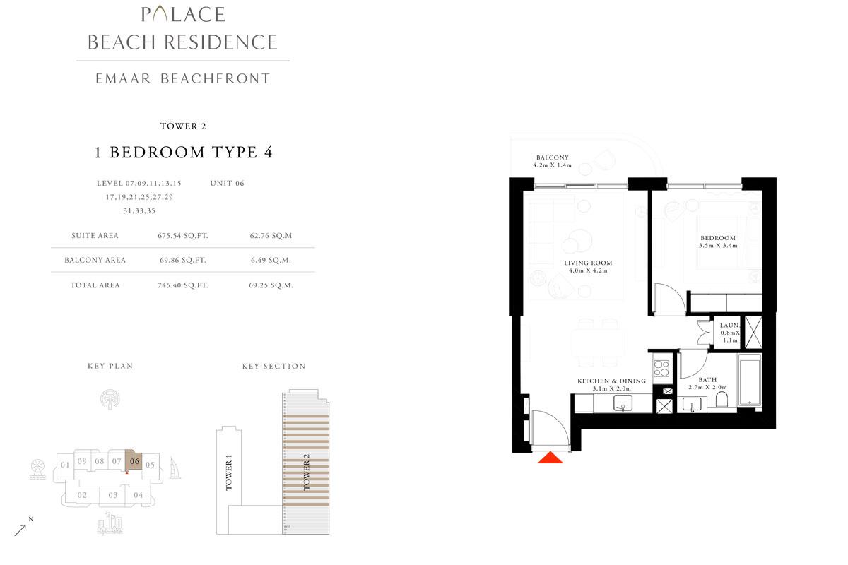 1 Bedroom, Type 04, Level 07,09,11,13,15,17,19,21,25,27,29,31,33,35, Unit 06
