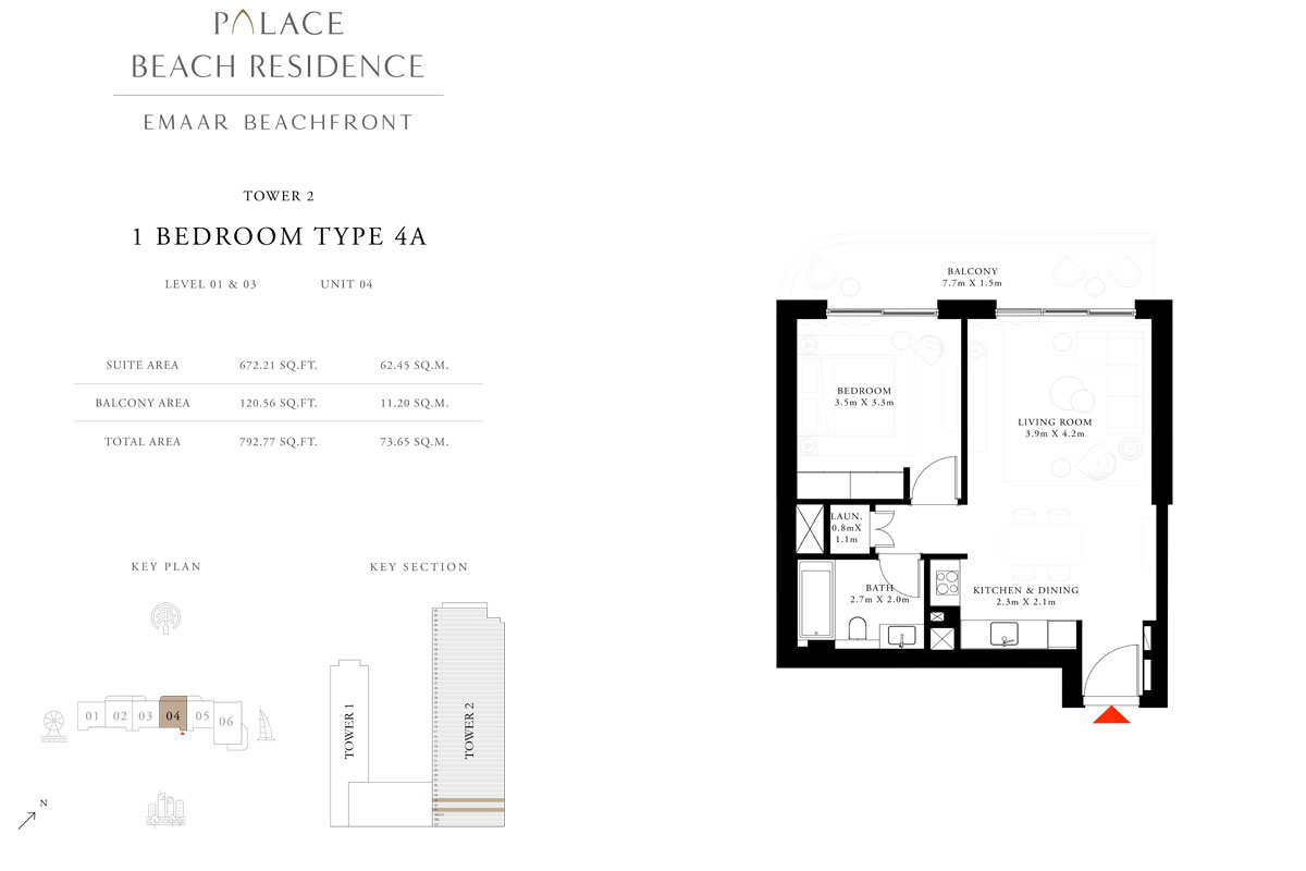 1 Bedroom, Type 4A, Level 01 & 03, Unit 04