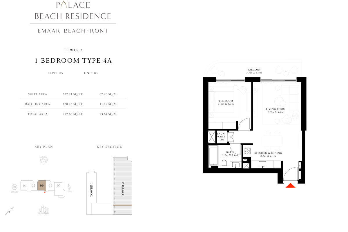 1 Bedroom, Type 4A, Level 05, Unit 03