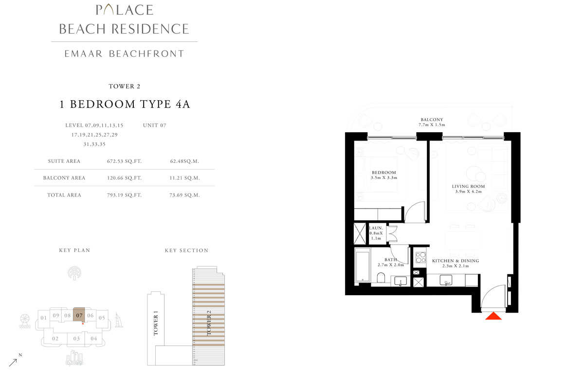 1 Bedroom, Type 4A, Level 07,09,11,13,15,17,19,21,25,27,29,31,33,35, Unit 07