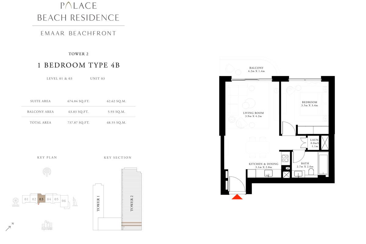 1 Bedroom, Type 4B, Level 01 & 03, Unit 03
