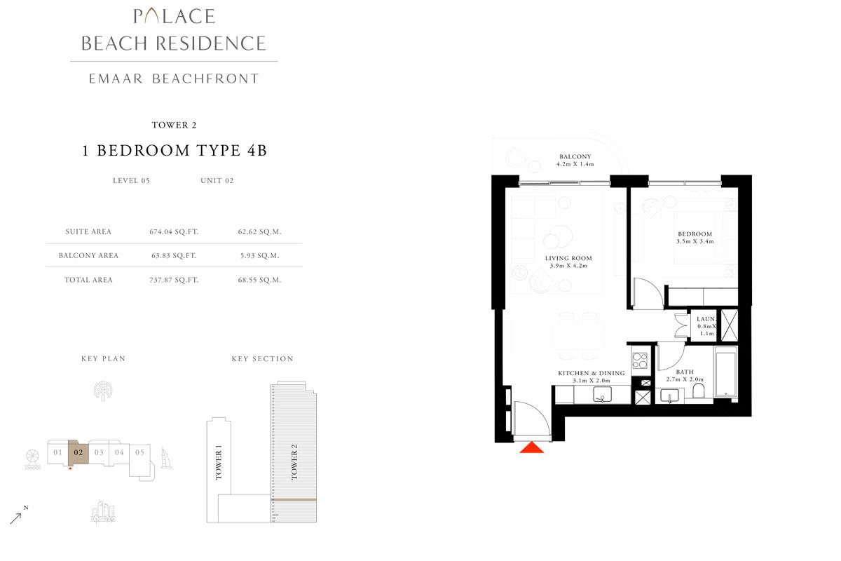 1 Bedroom, Type 4B, Level 05, Unit 02