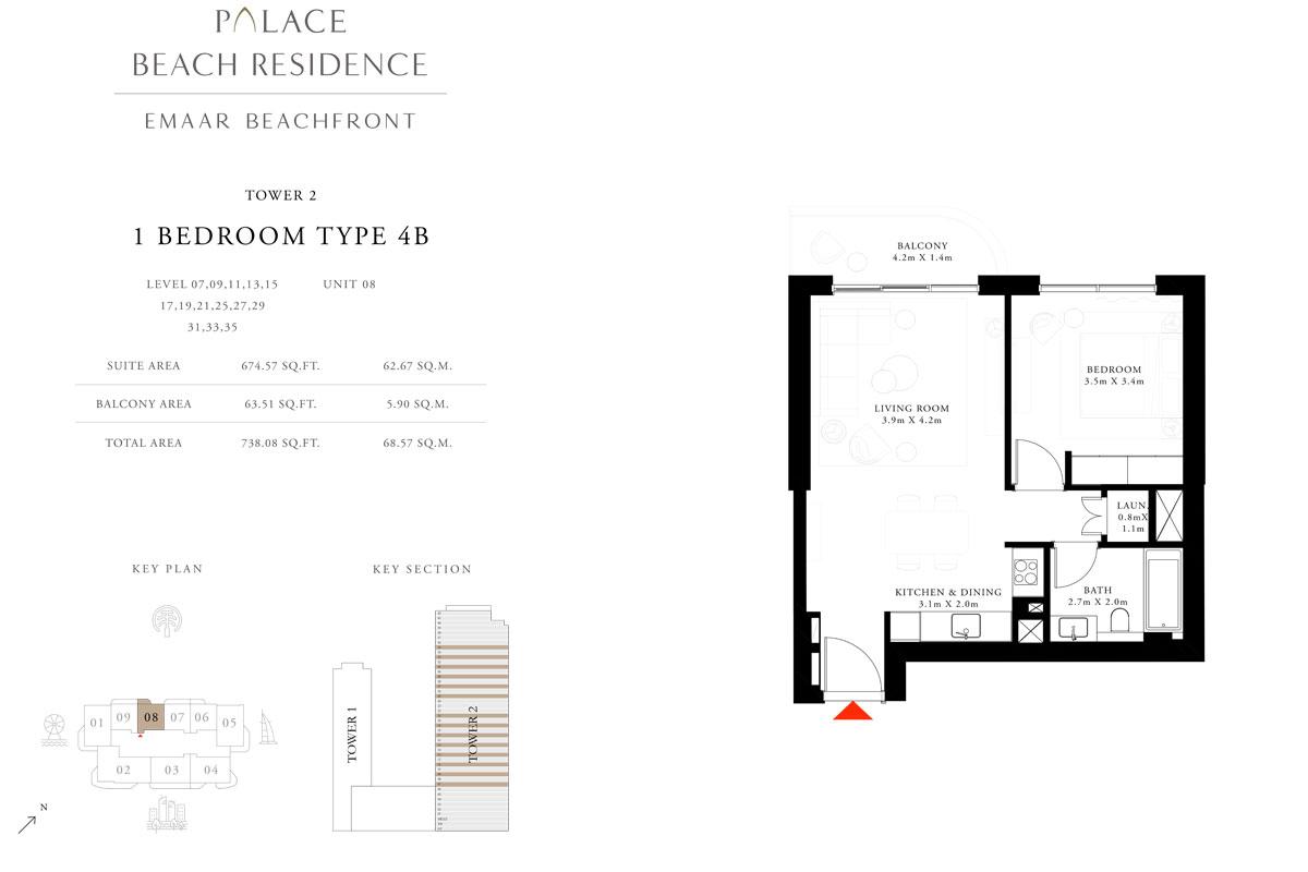 1 Bedroom, Type 4B, Level 07,09,11,13,15,17,19,21,25,27,29,31,33,35, Unit 08