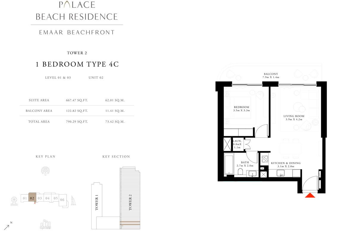 1 Bedroom, Type 4C, Level 01 & 03, Unit 02