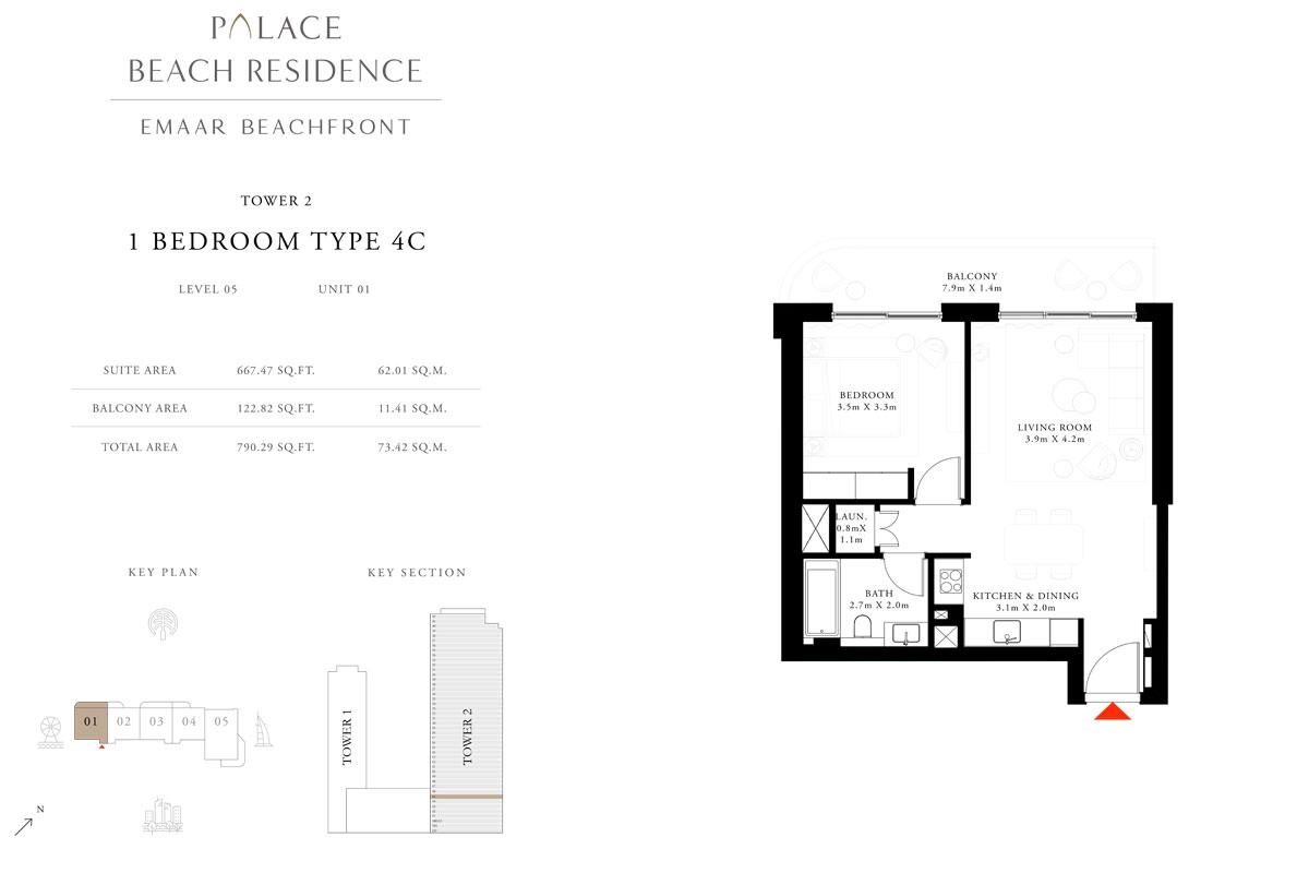 1 Bedroom, Type 4C, Level 05, Unit 01