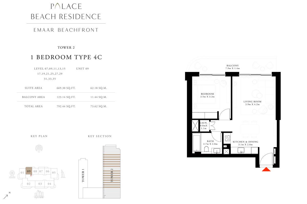 1 Bedroom, Type 4C, Level 07,09,11,13,15,17,19,21,25,27,29,31,33,35, Unit 09