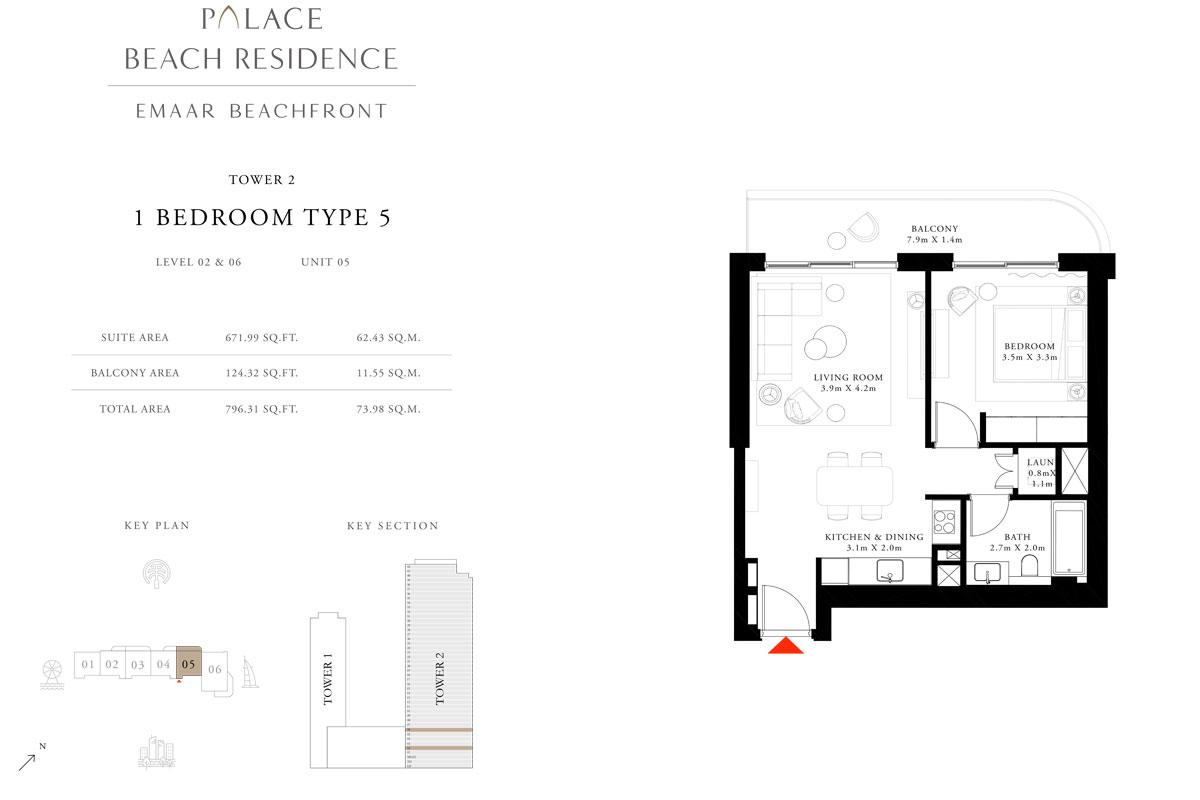 1 Bedroom, Type 05, Level 02 & 06, Unit 05