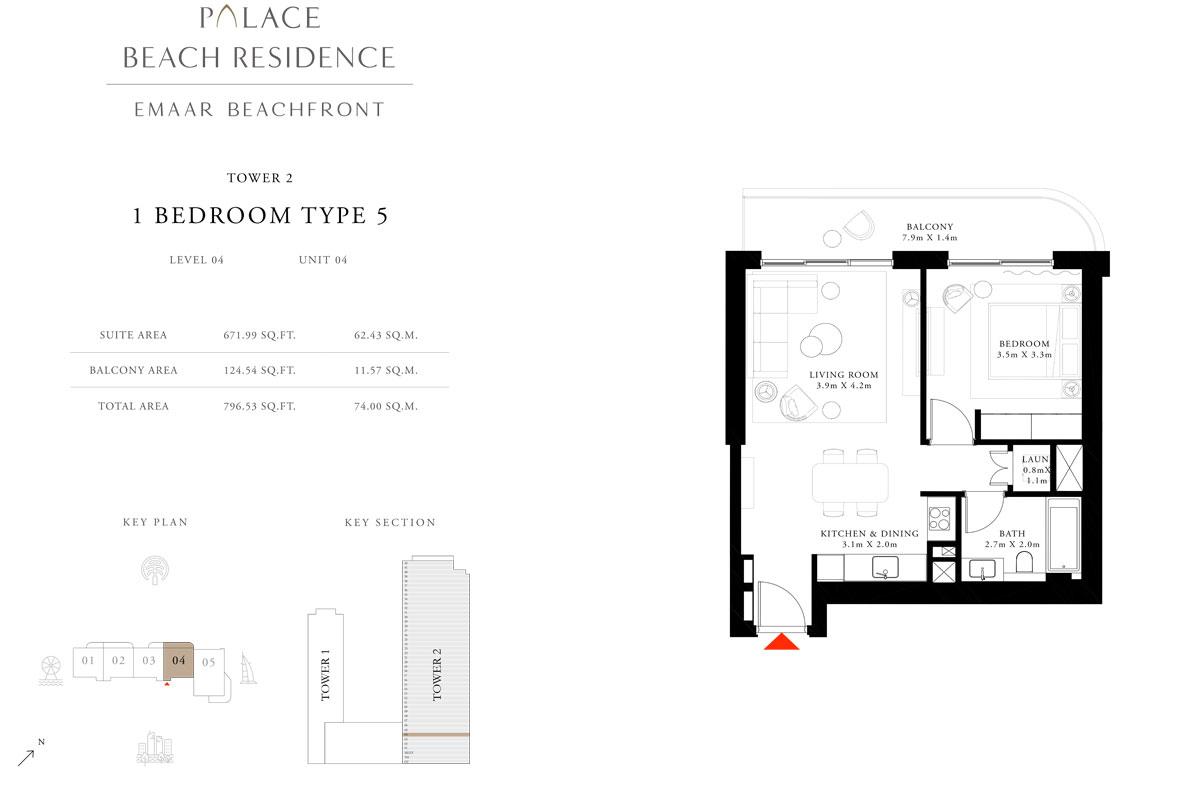 1 Bedroom, Type 05, Level 04, Unit 04