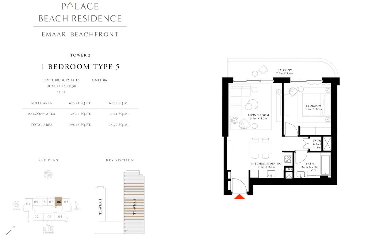 1 Bedroom, Type 05, Level 08,10,12,14,16,18,20,22,26,28,30,32,34, Unit 06