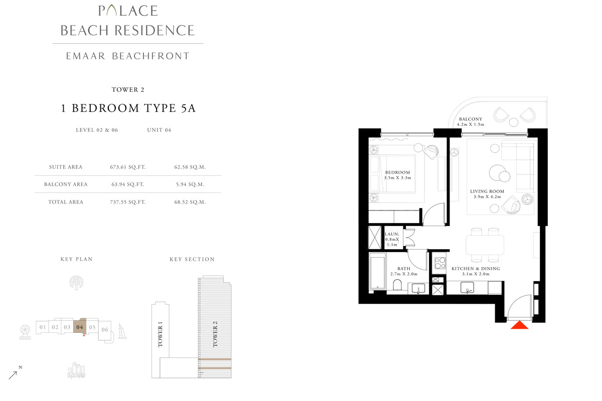 1 Bedroom, Type 5A, Level 02 & 06, Unit 04