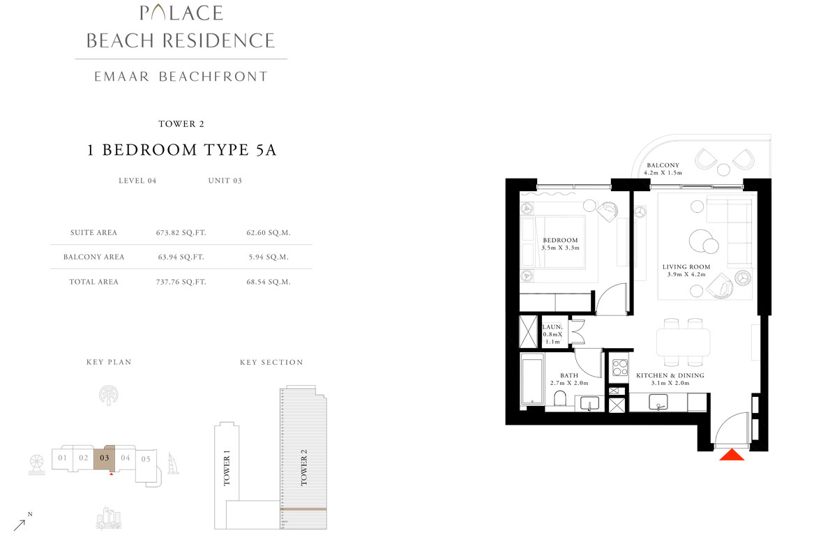 1 Bedroom, Type 5A, Level 04, Unit 03
