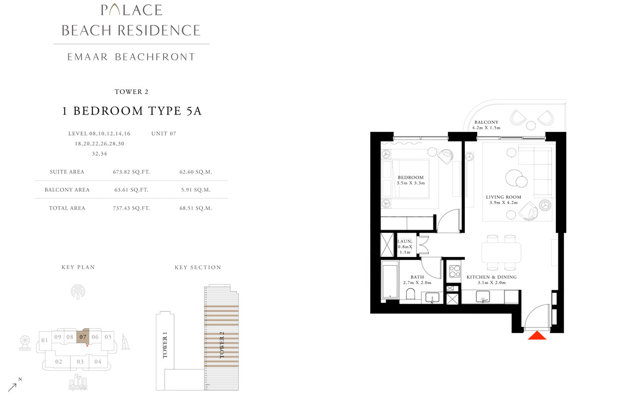 1 Bedroom, Type 5A, Level 08,10,12,14,16,18,20,22,26,28,30,32,34, Unit 07