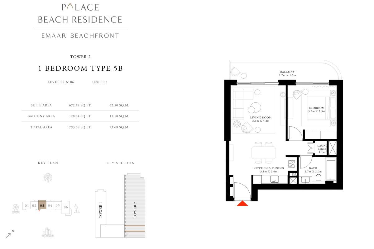 1 Bedroom, Type 5B, Level 02 & 06, Unit 03