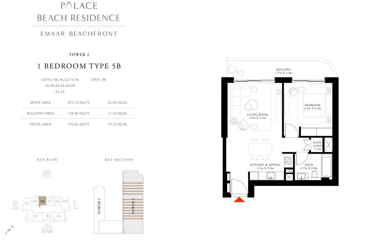 1 Bedroom, Type 5B, Level 08,10,12,14,16,18,20,22,26,28,30,32,34, Unit 08