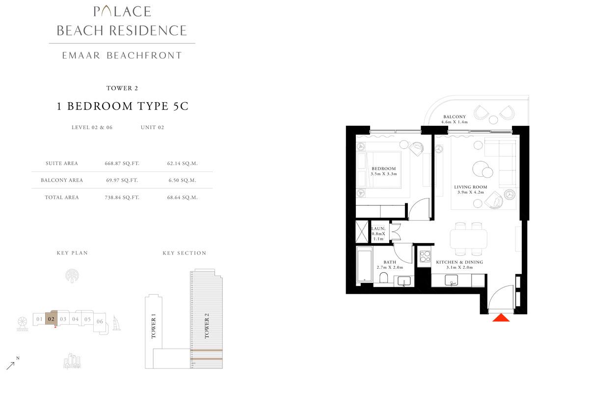 1 Bedroom, Type 5C, Level 02 & 06, Unit 02