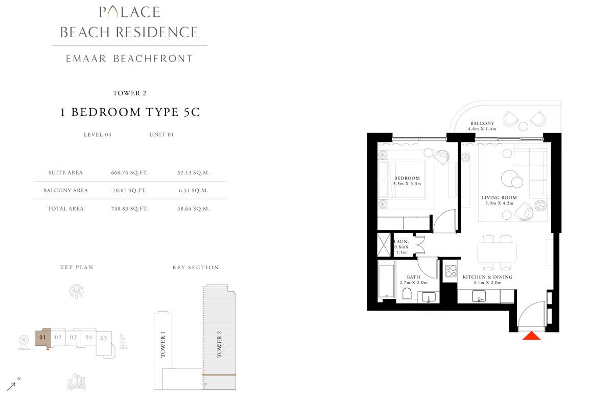 1 Bedroom, Type 5C, Level 04, Unit 01