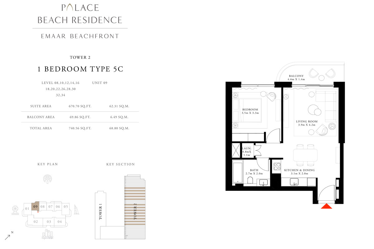 1 Bedroom, Type 5C, Level 08,10,12,14,16,18,20,22,26,28,30,32,34, Unit 09