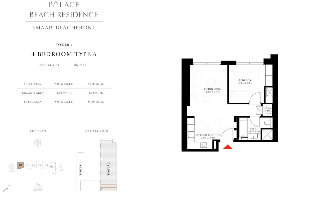1 Bedroom, Type 06, Level 01 & 03, Unit 01