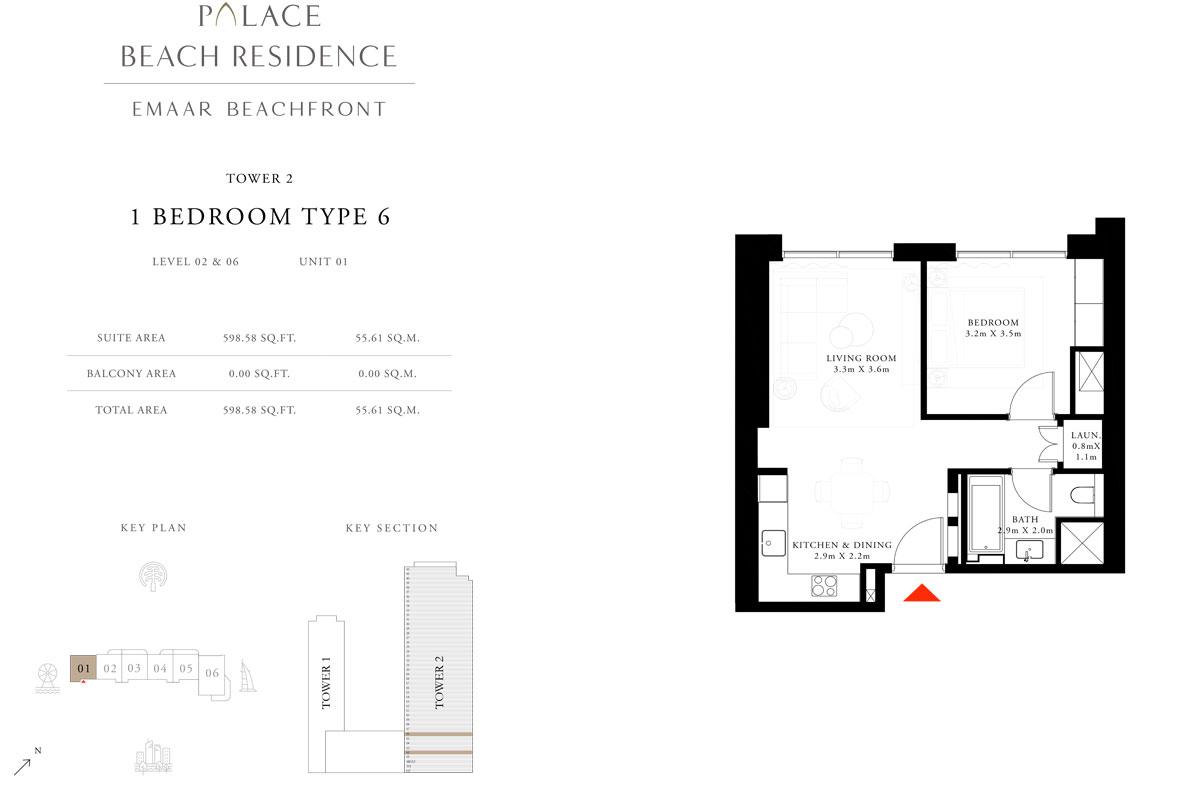 1 Bedroom, Type 06, Level 02 & 06, Unit 01