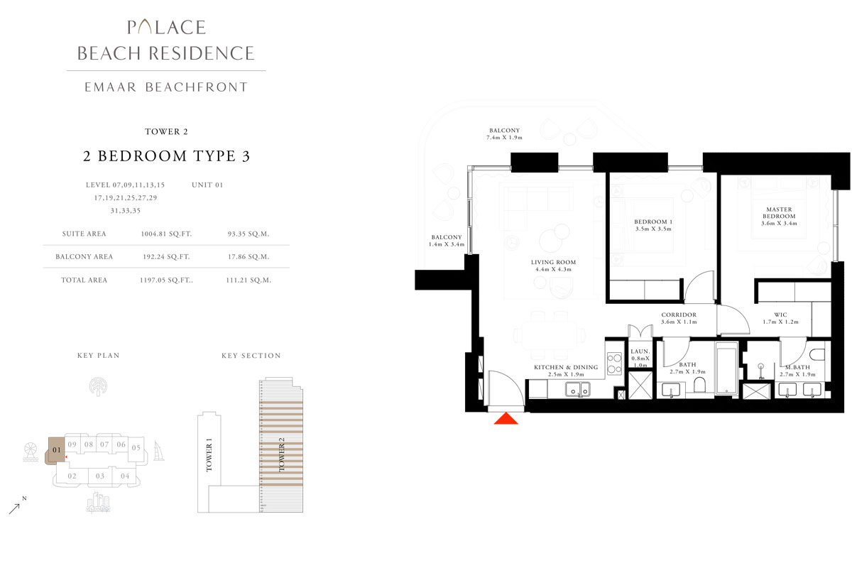 2 Bedroom, Type 03, Level 07,09,11,13,15,17,19,21,25,27,29,31,33,35, Unit 01