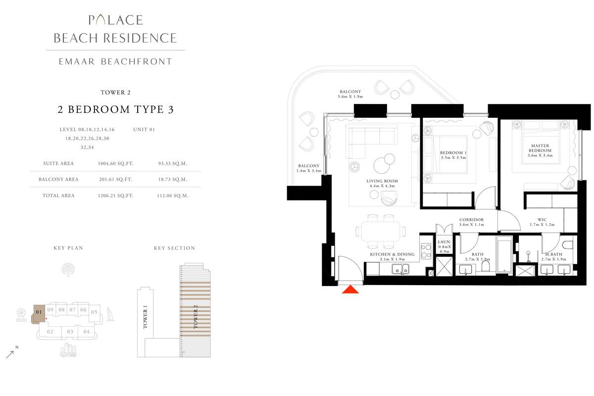 2 Bedroom, Type 03, Level 08,10,12,14,16,18,20,22,26,28,30,32,34, Unit 01