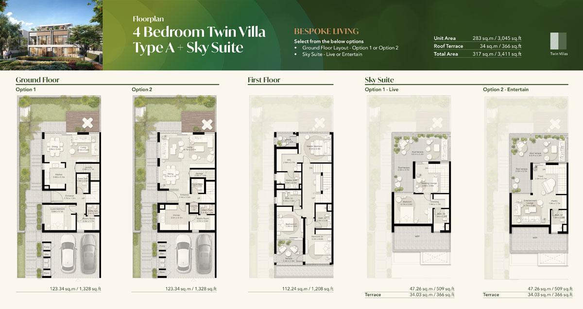 4 Bedroom Twin Villa, Type A + Sky Suite
